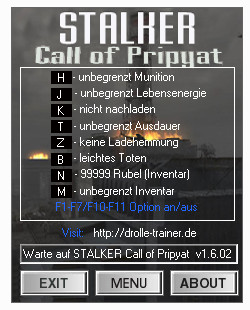 Трейнер STALKER Call of Pripyat v1.6.02 CoP